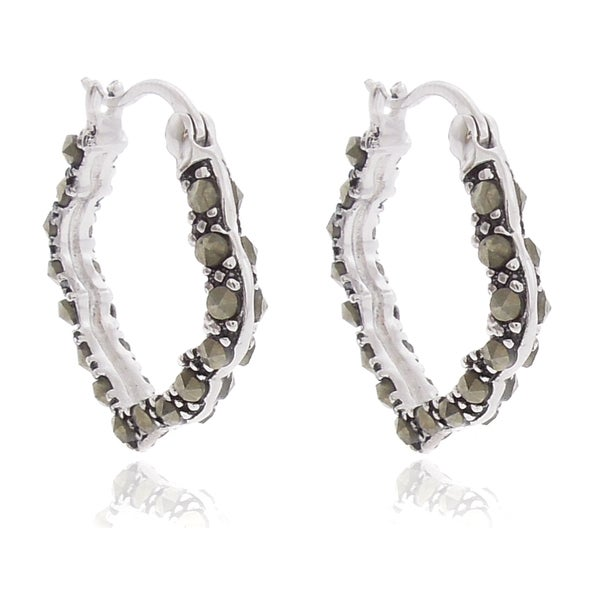 Dolce Giavonna Silverplated Marcasite Hoop Earrings