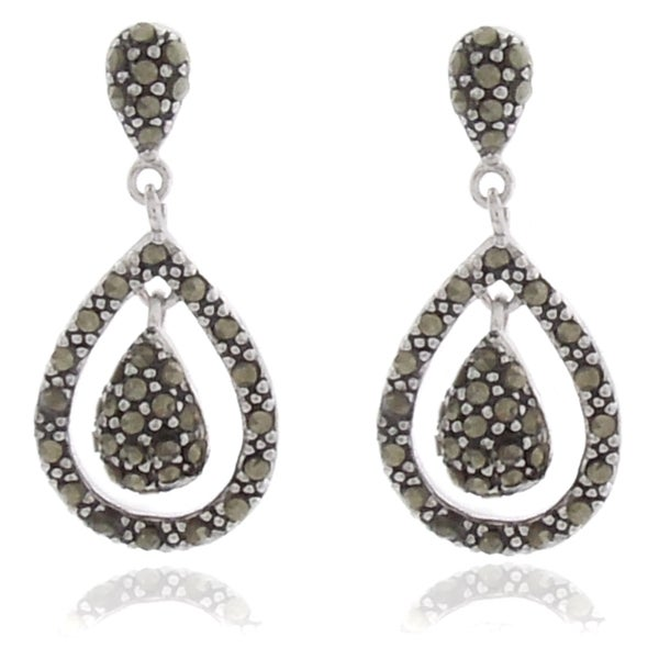 Dolce Giavonna Silver Overlay Marcasite Teardrop Dangle Earrings