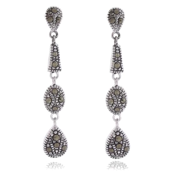 Dolce Giavonna Silverplated Marcasite Dangle Drop Earrings