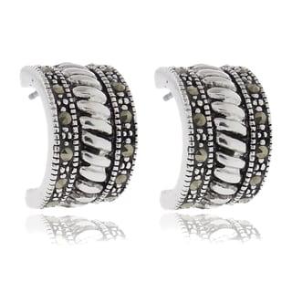 Dolce Giavonna Silverplated Marcasite Roped Half Hoop Earrings