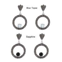 Dolce Giavonna Silverplated Marcasite and Gemstone Circles Drop Earrings