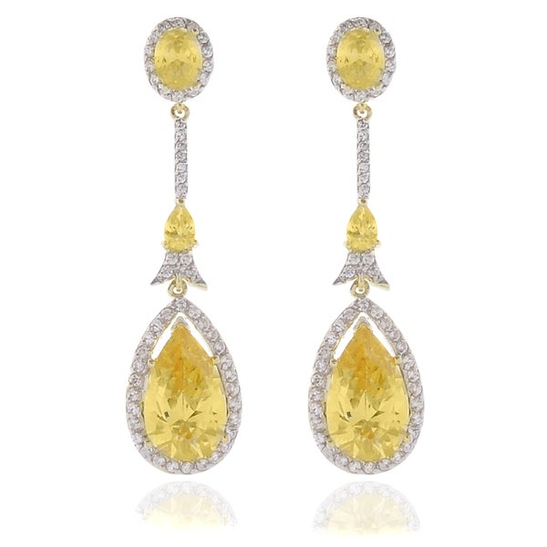 Dolce Giavonna 18k Gold Overlay Yellow and White CZ Teardrop Earrings