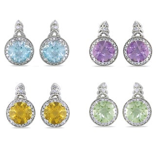 Miadora Silver Gemstone and 1/5ct TDW Diamond Earrings (H-I, I2-I3)