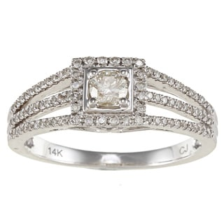 Victoria Kay 14k White Gold 1/2ct TDW White Diamond Split-shank Engagement Ring (IJ, I1-I2)