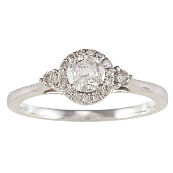 Victoria Kay 14k White Gold 1/2ct TDW Diamond Halo Engagement Ring (I-J, I1-I2)
