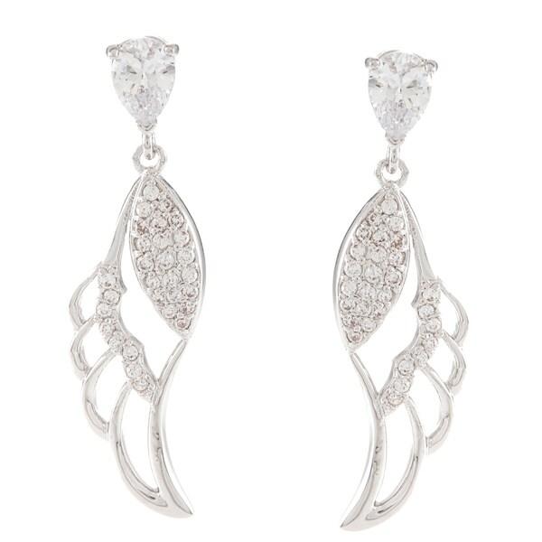 Silvertone Round-Cut Cubic Zirconia Leaf Dangle Earrings