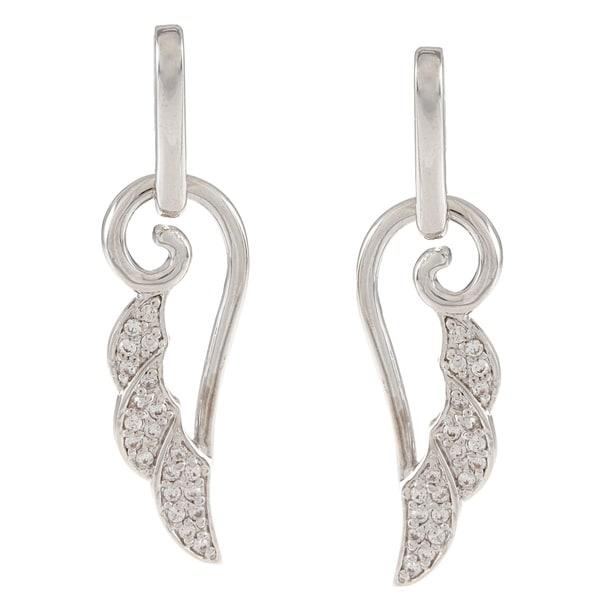 Silvertone Cubic Zirconia Leaf Dangle Earrings