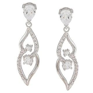 Silvertone Cubic Zirconia Dangling Leaf Earrings