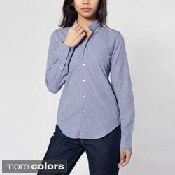 American Apparel Unisex Long Sleeve Button- Down Shirt