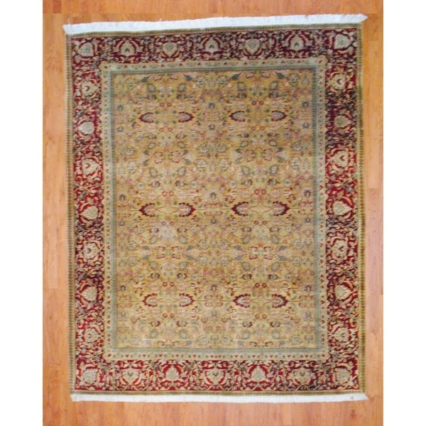 Indo Hand-knotted Gold/ Red Mahal Wool Rug (8' x 10')