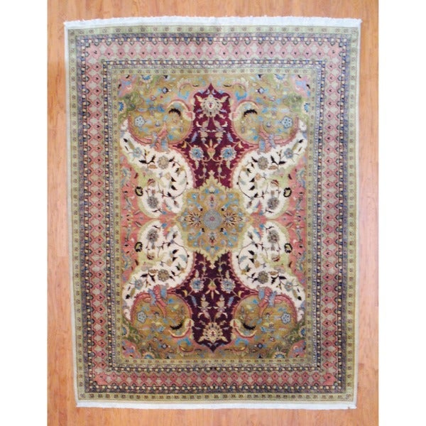 Indo Hand-knotted Ivory/ Salmon Tabriz Wool Rug (8' x 10')