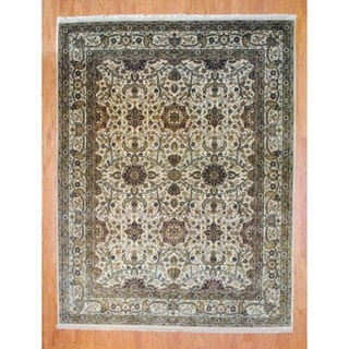 Herat Oriental Indo Hand-knotted Farahan Ivory/ Burgundy Wool Rug (8' x 10')