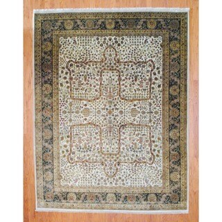 Herat Oriental Indo Hand-knotted Farahan Ivory/ Brown Wool Rug (8' x 10')