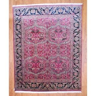 Herat Oriental Indo Hand-knotted Sarouk Rust/ Black Wool Rug (8' x 10')