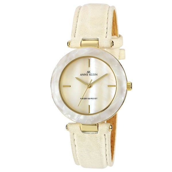 Shop anne klein women 39 s ivory leather strap watch free shipping on orders over 45 overstock for Anne klein leather strap