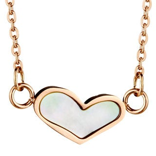 Rose Goldplated Stainless Steel Pearl Heart Necklace