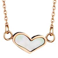 Rose Gold Plated Stainless Steel Pearl Heart Necklace - Pink