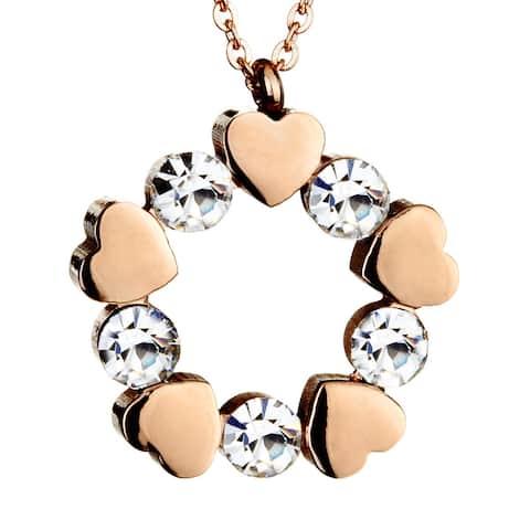 Rose Gold Plated Stainless Steel Cubic Zirconia Heart Necklace - Pink