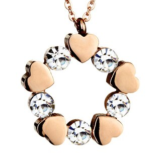 Rose Goldplated Stainless Steel Heart with Cubic Zirconias Necklace
