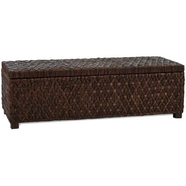 Rinaldi Dark Brown All Rattan Storage Ottoman by Christopher Knight Home
