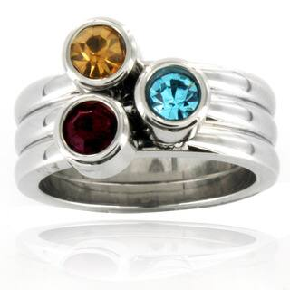 Stainless Steel Tri-color Crystal Stacked Ring|https://ak1.ostkcdn.com/images/products/7307916/P14778709.jpg?impolicy=medium