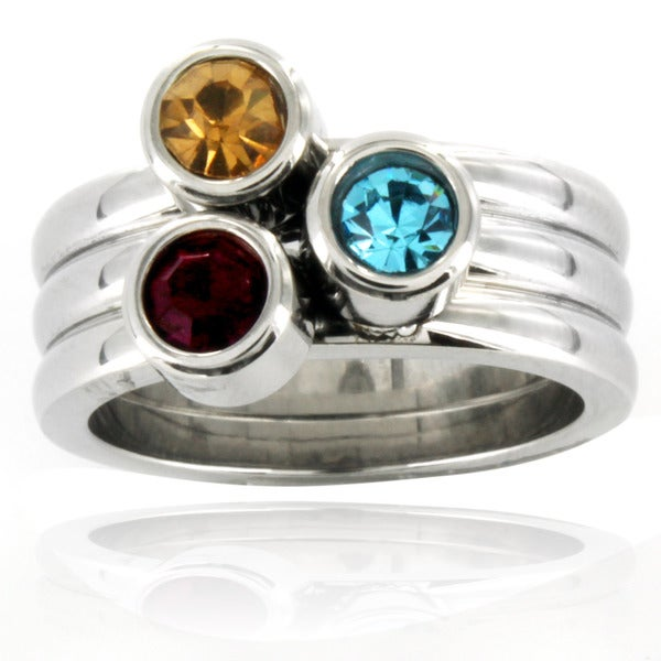 Stainless Steel Tri-color Crystal Stacked Ring