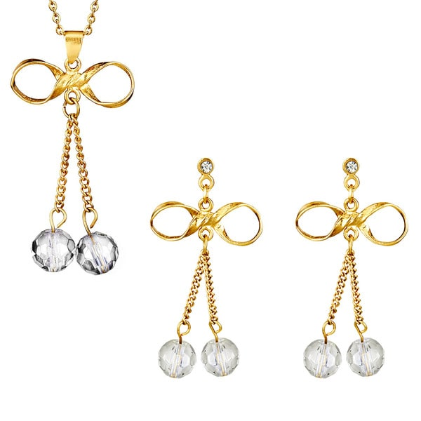 Goldplated Stainless Steel Bowtie Drop Earrings and Necklace Set
