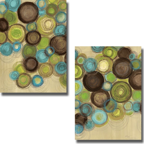 Jeni Lee 'Whimsy I and II' 2-piece Canvas Art Set