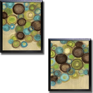 Jeni Lee 'Whimsy I and II' Framed 2-piece Canvas Art Set