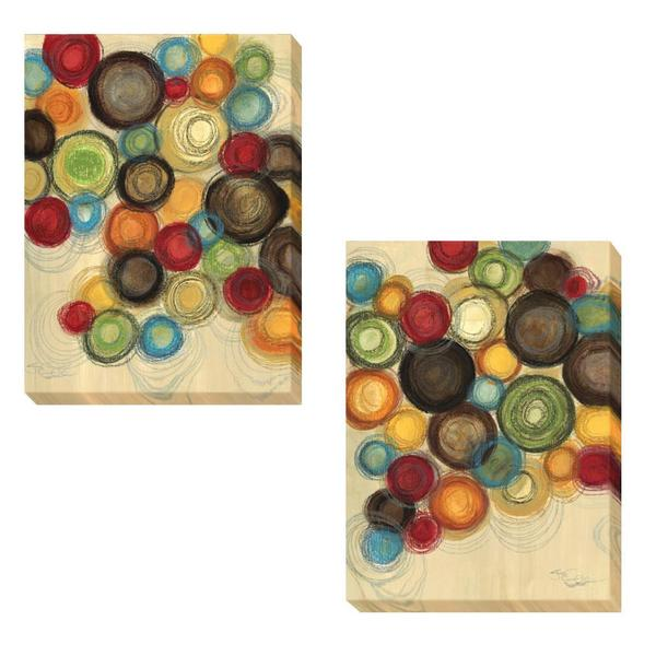 Jeni Lee 'Colorful Whimsy I and II' 2-piece Canvas Art Set