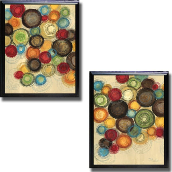 Jeni Lee 'Colorful Whimsy I and II' Framed 2-piece Canvas Art Set