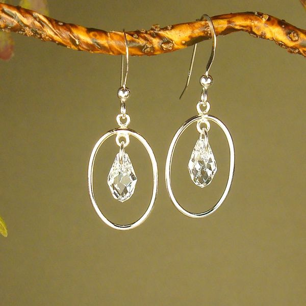Jewelry by Dawn Oval Hoops With Crystal Moonlight Sterling Silver Earrings