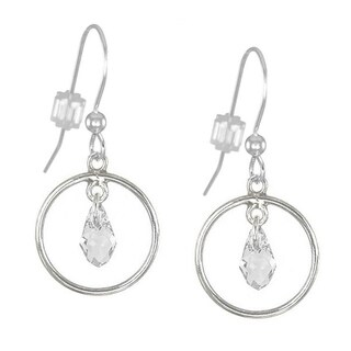Handmade Jewelry by Dawn Small Hoops With Crystal Moonlight Sterling Silver Earrings