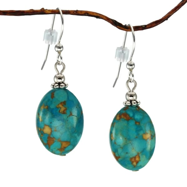Handmade Jewelry by Dawn Oval Turquoise Blue Magnesite Earrings (USA) - Turquoise.blue. Opens flyout.