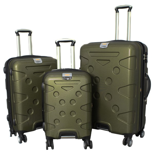 Peninsula 3-piece Lightweight Expandable Hardside Spinner Luggage Set with TSA Lock - Army Green