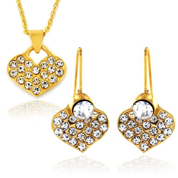 Goldplated Stainless Steel CZ 2-piece Jewelry Set