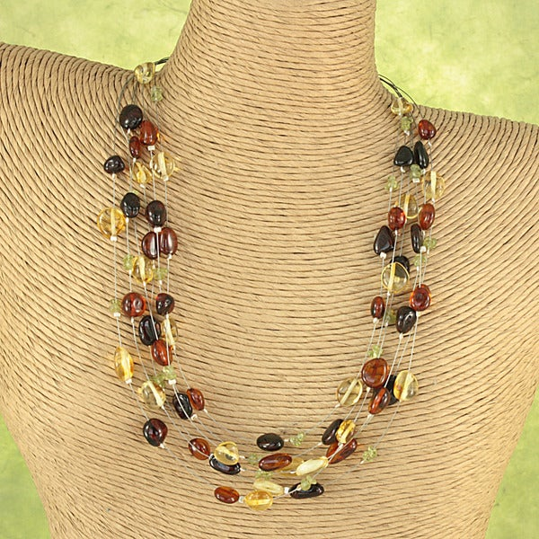 Handcrafted Earthtone Baltic Amber and Peridot Chips Necklace ( Lithuania)