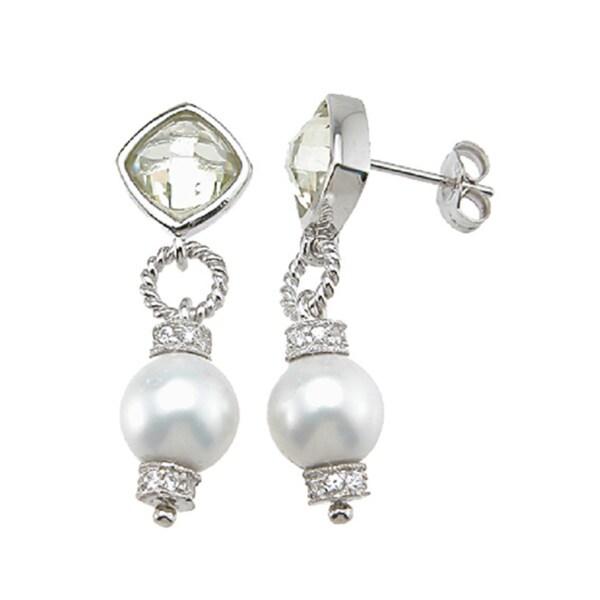 Sterling Silver Simulated Peridot Fashion Bezel Earrings
