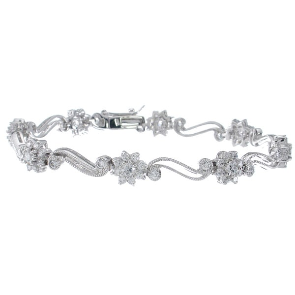 Sterling Silver Round-cut Clear Cubic Zirconia Antique-style Bracelet
