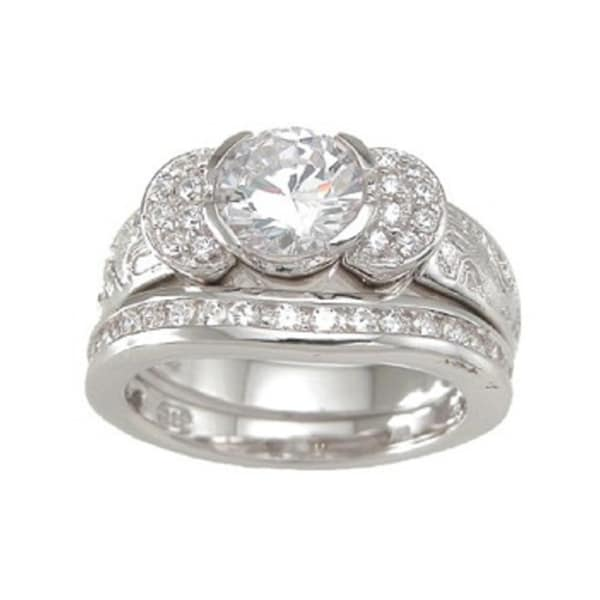 Sterling Silver Round Cubic Zirconia Antique Bridal-style Ring Set