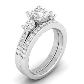 Sterling Silver Round Cubic Zirconia 3-stone Bridal-style Ring Set - White