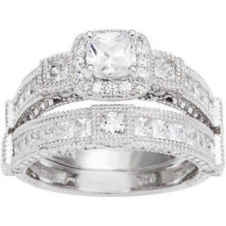 Sterling Silver TGW 1 1/2 carat Princess Cubic Zirconia Antique Bridal-style Ring Set - White