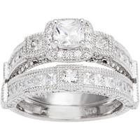 Sterling Silver TGW 1 1/2 carat Princess Cubic Zirconia Antique Bridal-style Ring Set - White