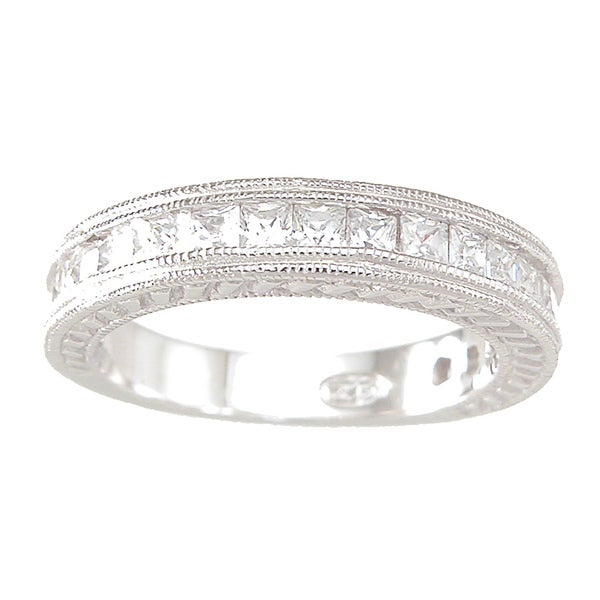 Sterling Silver Princess-cut Clear Cubic Zirconia Wedding-style Band