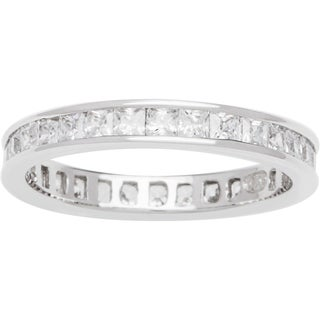 Sterling Silver TGW 3/4 carat Princess-cut Clear Cubic Zirconia Eternity Band