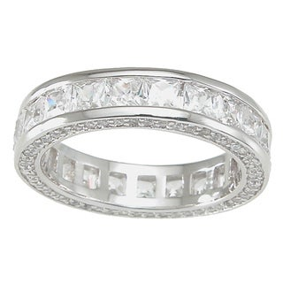 Plutus High Polish Sterling Silver TCW 1 carat Princess-cut Cubic Zirconia Eternity Band