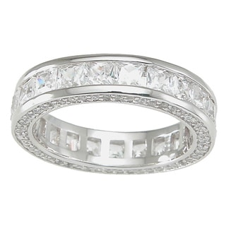 Plutus High Polish Sterling Silver TCW 1 carat Princess-cut Cubic Zirconia Eternity Band