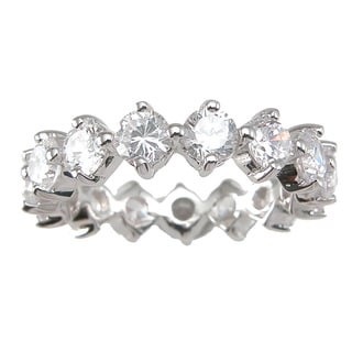 Sterling Silver TGW 1 carat Round-cut Cubic Zirconia Eternity Wedding-style Band