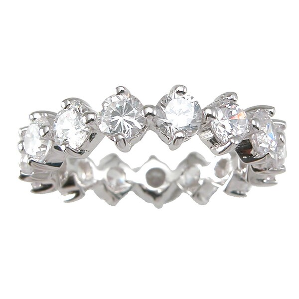 Sterling Silver TGW 1 carat Round-cut Cubic Zirconia Eternity Wedding-style Band