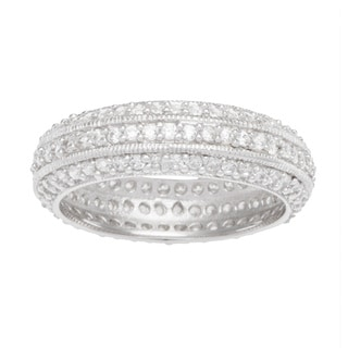 Sterling Silver TGW 1 carat Round-cut Cubic Zirconia Eternity Band